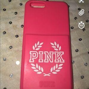 Victoria Secret pink IPhone 6s phone case.